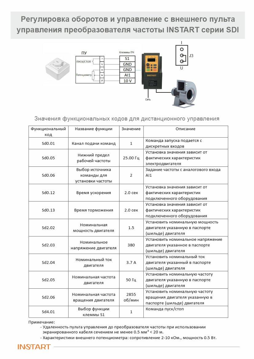 Регулировка оборотов и управление с внешнего пульта управления преобразователя частоты INSTART серии SDI